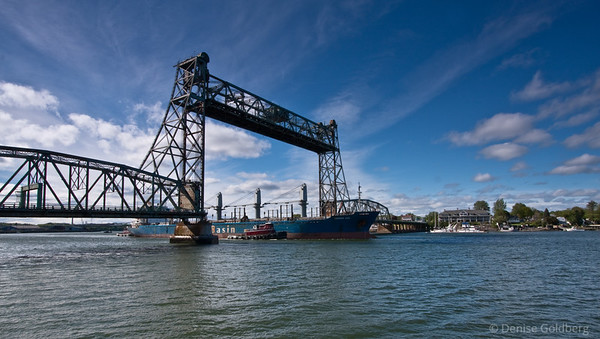 Ship under Portsmouth bridge
